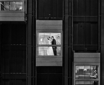 award-winning wedding photography, black and white elevators downtown chicago