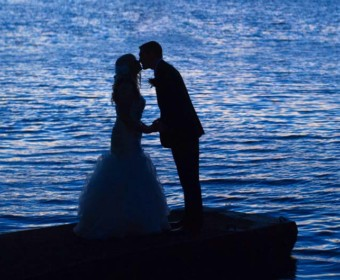 bride and groom along waukegan river, wilmington, IL