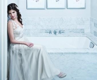 indoor bridal portrait. cool tones and modern look