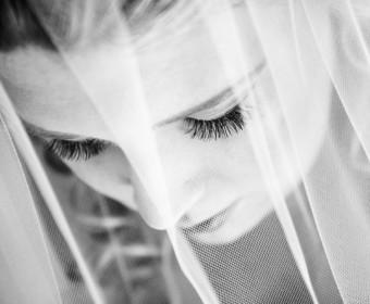 bride closeup black and white portrait