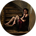 model portrait on stairway. Dole Mansion, Crystal Lake IL