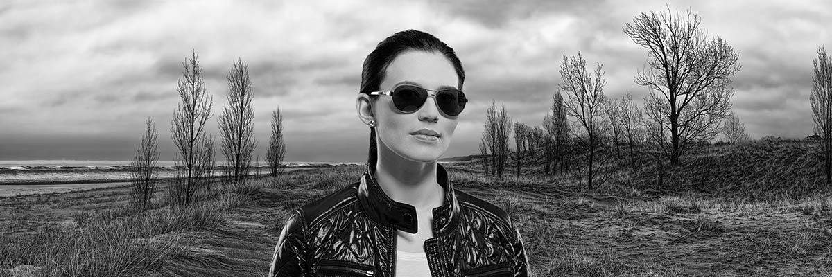 contemporary on-location black and white fine art portrait