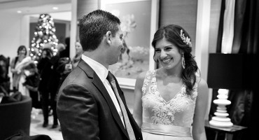 bride and groom first look, at Waldorf-Astoria Chicago
